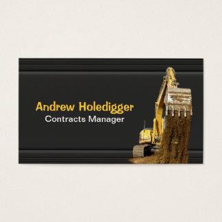 Excavatrice jaune sur le noir cartes de visite