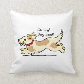 Excité pour l illustration de chien de nourriture oreiller