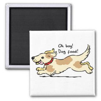 Excité pour l illustration de chien de nourriture magnets pour réfrigérateur