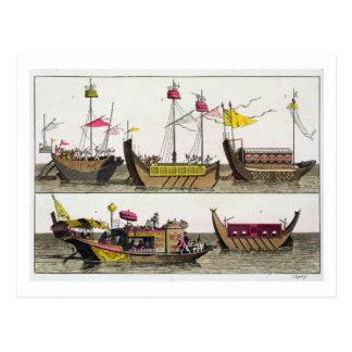 Exemples des bateaux chinois, illustration de 'Le Carte Postale