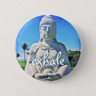"""Exhalez"" le bouton blanc hawaïen de photo de Badge"