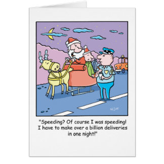 Expédier attrapé par Père Noël de bande dessinée Carte De Vœux