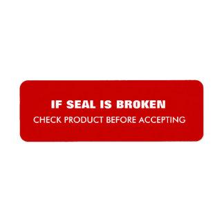 Expédition d'avertissement étiquettes d'adresse retour