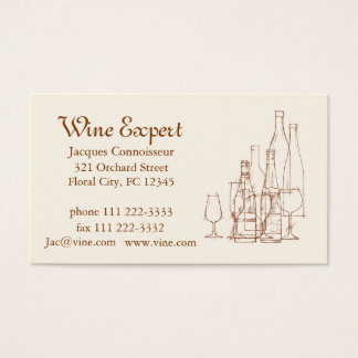 Expert en matière de vin cartes de visite