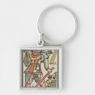 Expiation, carte de tarot, française porte-clé carré argenté