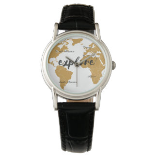 Explorez la montre de carte d'or