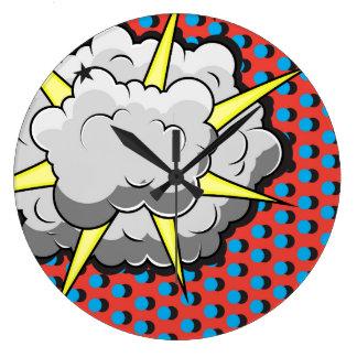 Explosion comique de style d'art de bruit grande horloge ronde