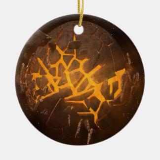 Explosion de planète ornement rond en céramique