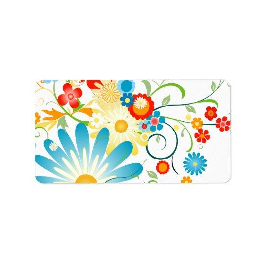 Explosion florale de couleur étiquette d'adresse
