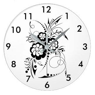Explosion florale... grande horloge ronde