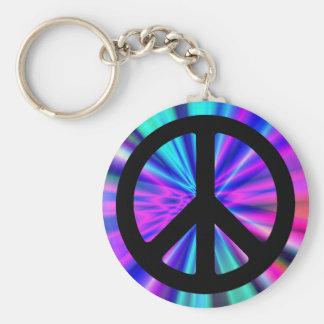 Exposition de lumière d'Aqua avec le signe de paix Porte-clefs