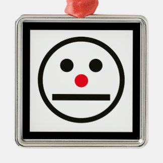 Expression Relaxed de visage avec le nez rouge Ornement Carré Argenté