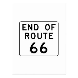 Extrémité de signe de l'itinéraire 66 cartes postales