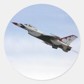 F-16 Thunderbird en vol Sticker Rond