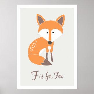 F est pour Fox - copie d'art d'amis d'alphabet Affiches