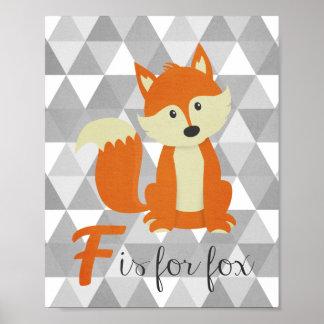 F est pour l'art de mur de crèche de Fox Poster
