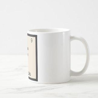 F - Symbole de Tableau périodique de chimie de bis Tasses À Café