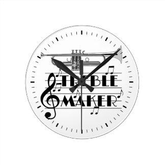 Fabricant triple de trompettiste horloge ronde