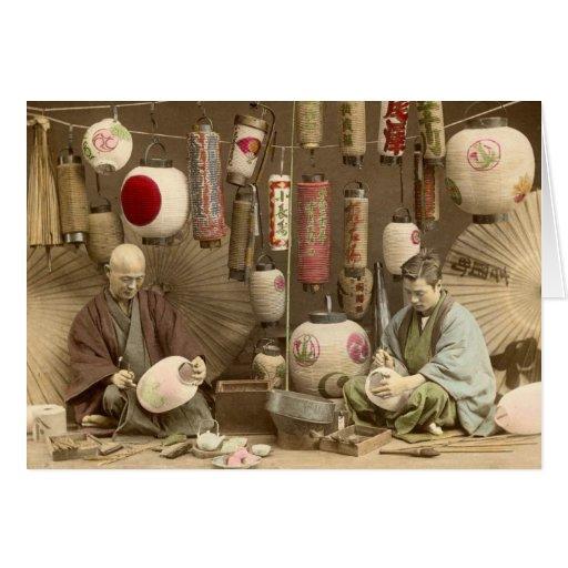 Fabricants japonais de lampion, photo vintage cartes de