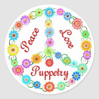 Fabrication de marionnettes d'amour de paix sticker rond
