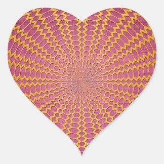 Fabrication radiale d'or sur la conception rose sticker cœur