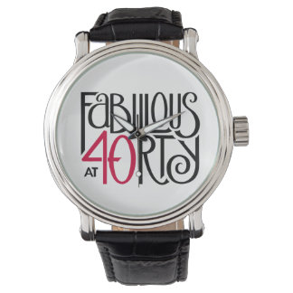 Fabuleux à la montre 40rty en cuir vintage rouge
