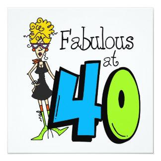 Fabuleux blond à l'anniversaire 40 carton d'invitation  13,33 cm