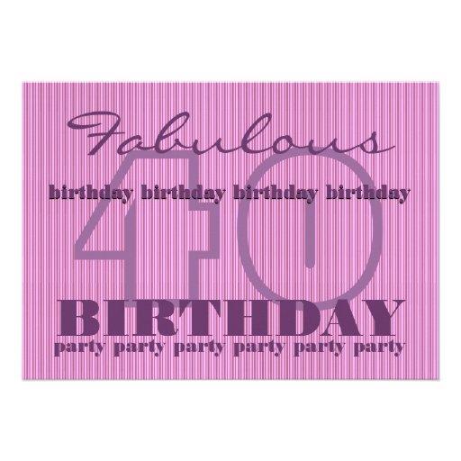 Fabuleux et fête d'anniversaire 40 rayée faire-part personnalisé