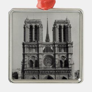 Façade de Notre-Dame, Paris, fin du 19ème siècle Ornement Carré Argenté