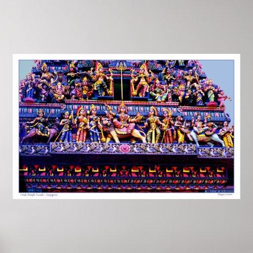 Façade de temple hindou - Singapour Affiches