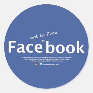 face_not à l'autocollant de face_book sticker rond