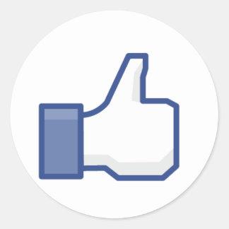 """Facebook """"comme"""" la main adhésif rond"""