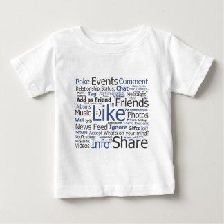 Facebook - comme, poussée, étiquetée, amis t-shirt pour bébé