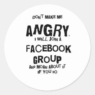 facebook fâché adhésifs ronds