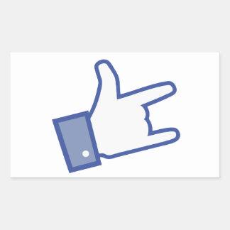 Facebook vous aiment basculer l icône de rock de autocollants rectangulaires