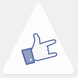 Facebook vous aiment basculer l icône de rock de autocollant en triangle