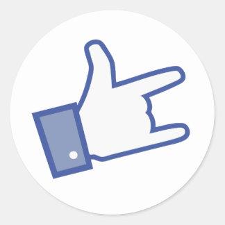 Facebook vous aiment basculer l icône de rock de autocollant rond