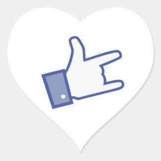 Facebook vous aiment basculer l icône de rock de autocollants en cœur