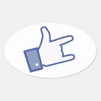 Facebook vous aiment basculer l icône de rock de autocollants ovales