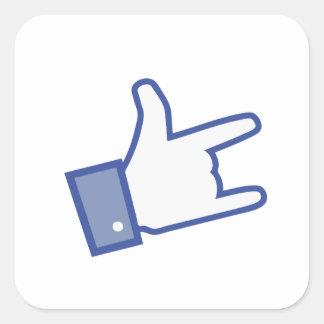Facebook vous aiment basculer l icône de rock de autocollant carré