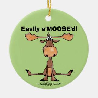 """Facilement A'Moose """" d Ornement Rond En Céramique"""