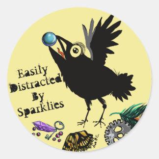 Facilement distrait par Sparklies Raven Sticker Rond