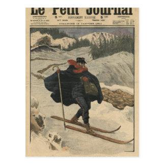 Facteurs alpins à l'aide du ski carte postale
