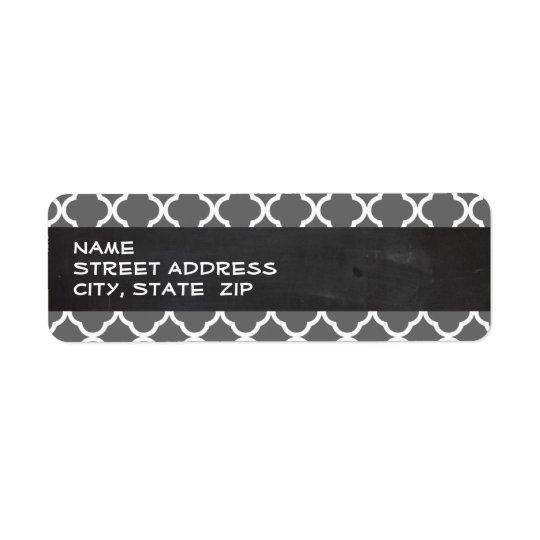 Faible Quatrefoil gris ; Regard de tableau Étiquette D'adresse Retour