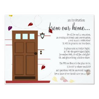 Faire bon accueil à des portes carton d'invitation 10,79 cm x 13,97 cm