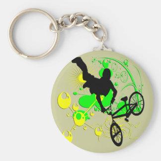 Faire du vélo extrême porte-clé rond
