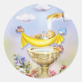 Faire-part de baptême de baptême de bébé adhésifs ronds