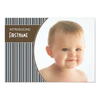 Faire-part de bébé avec 3 photos (rayures)