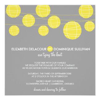 Faire-part de mariage accrochant jaune de lampions