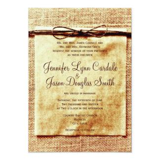 Faire-part de mariage affligé par ficelle rustique carton d'invitation  12,7 cm x 17,78 cm